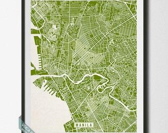 Manila Print, Philippines Poster, Manila Poster, Manila Map, Philippines Print, Street Map, Philippines Map, Christmas Gift