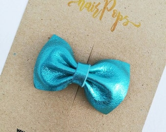 Genuine Leather Bow Clip - Aqua