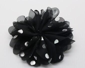 "3"" Black Chiffon Flower with Silver Dots, Headband Flower, Fabric Flower."