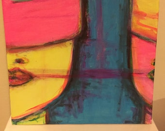 Wall Art, Mixed Media Canvas, Neon Hostages