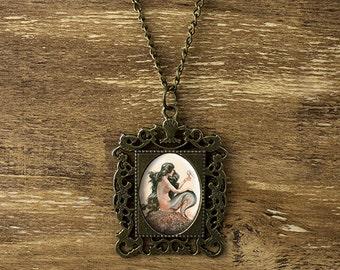 Mermaid necklace, vintage mermaid necklace, mermaid pendant, mermaid jewelry