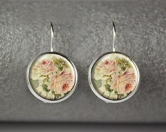 Rose earrings, Rose photo earrings, Floral earrings, Vintage rose jewelry