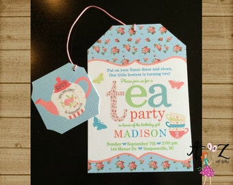Tea Party Birthday Invitation, Tea Bag Invitation, Tea Party Invitation, Girls Birthday Invitation, Pink Invitation, Printable