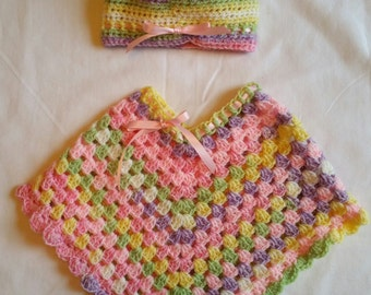 Sherbet Crocheted Poncho and Hat Set
