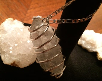 Crystal Spiral Pendant & Sterling Silver Necklace