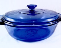 Cobalt Blue Anchor Hocking One and a Half Quart, 1.5 Liter Casserole baking dish with Lid