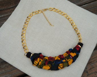African Print Bib Necklace