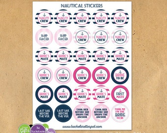 "1.5"" Circle Nautical Bachelorette Party Badges or Stickers"