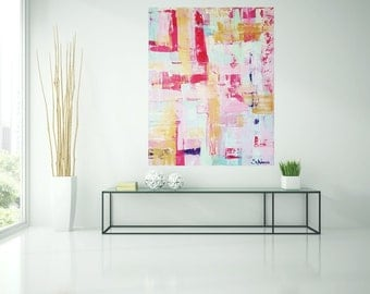 Abstract painting, acrylic, pink, multi colored, painting, art, painting, original art by Camilla Schima