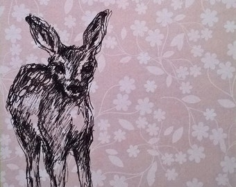 FAWN DRAWING on pink