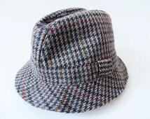 Plaid Mens Fedora Vintage Wool Fedora Lightweight Wool Hat Gentleman's Hat Wool Spring Hat with Ribbon Made in Scotland Size Medium
