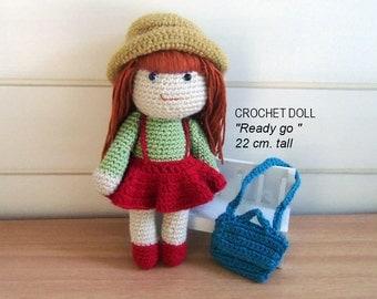 "Crochet Doll ""Ready go "",  22 cm. tall, crochet gift, crochet amigurumi crochet doll, farewell gift"
