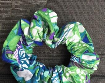 Green Patterned Scrunchy