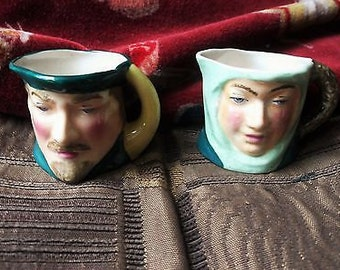Rare Pair of Vintage Bold Colours Mini Toby Jugs - Thorley Ware