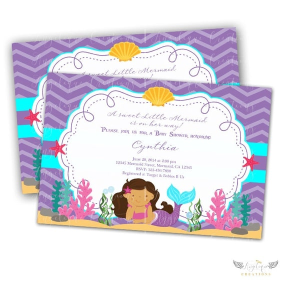 Little Mermaid Baby Shower Invitations & Blank Thank You Card to match