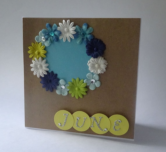 Greeting Cards - Handmade June Monthly Kraft Card with Flowers