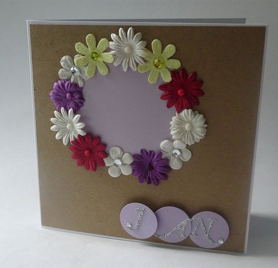 Greeting Cards - Handmade January Monthly Kraft Card with Flowers