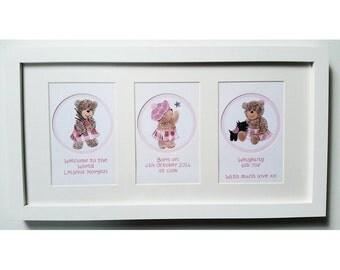 Framed Wishes New Baby Girl Scottish Teddies FW BA01