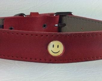 Red Happy Dog Collar