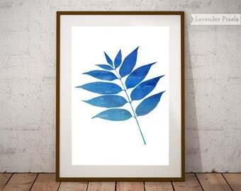 Leaf wall art, blue watercolor print, watercolor wall art, botanical art, housewarming gift, leaf decor, nature watercolor, instant download
