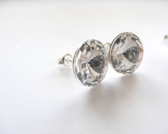 Swarovski Rivoli Ohrringe Sterling Silber 12 mm Ohrstecker Silber Kristall