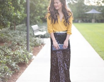Sequin maxi skirt | Etsy