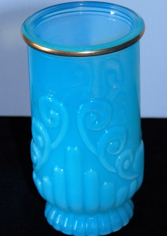 Vintage opalescent blue art glass bathroom decor vanity for Blue glass bathroom accessories
