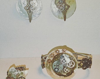DareByKionde #Steampunk collection set with earrings, adjustable ring and steampunk bracelet
