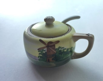 Hand Painted Nippon Condiment Pot with Windmill Landscape