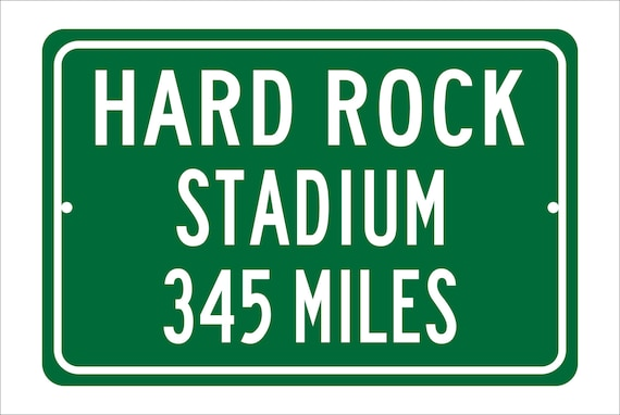 Custom College Highway Distance Sign to Hard Rock Stadium | Home of the Miami Hurricanes | Personalized Distance to Hard Rock Stadium | Cane