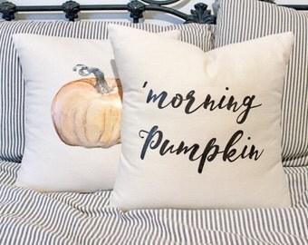 "Fall pillow cover ""Morning pumpkin"" pillow cover"