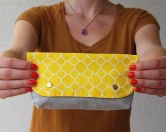 Wallet flap Scandinavian yellow and grey / Kit makeup / pouch handbag