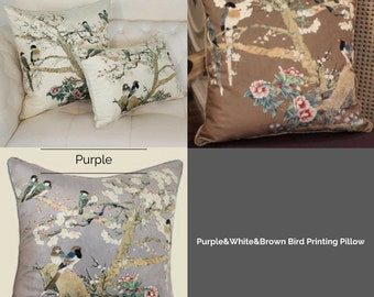 "Luxury White/Brown/Purple Bird Printing Pillow Cover 20""X20"""