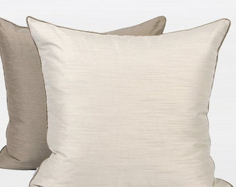 "Luxury White And Taupe Two Color Faux Silk Pillow 20""X20"""