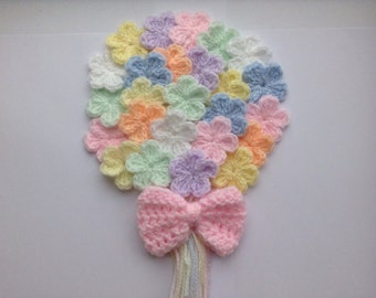 PASTEL SET - 25 crochet flowers and bow in pretty pastel shades.