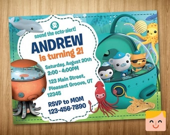 Octonauts Invitation, Octonauts Birthday, Octonauts Party, Printable Invites, Octonauts Invites, Octonaut Card, Captain Barnacles Printables