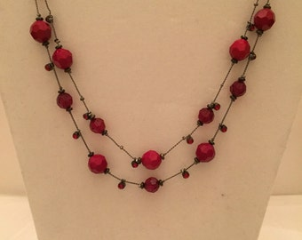 Ruby Floating Bead Two Strand Necklace