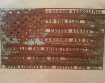 Patriotic American pledge of allegiance flag galvanized patina