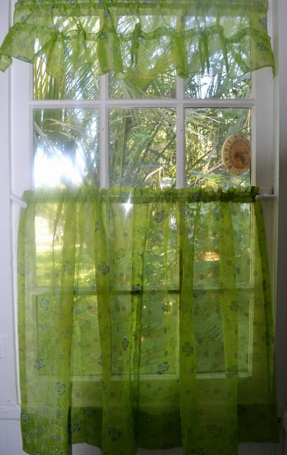 Https Www Etsy Com Listing 292382633 1960s Kitchen Curtain With Valance Lime