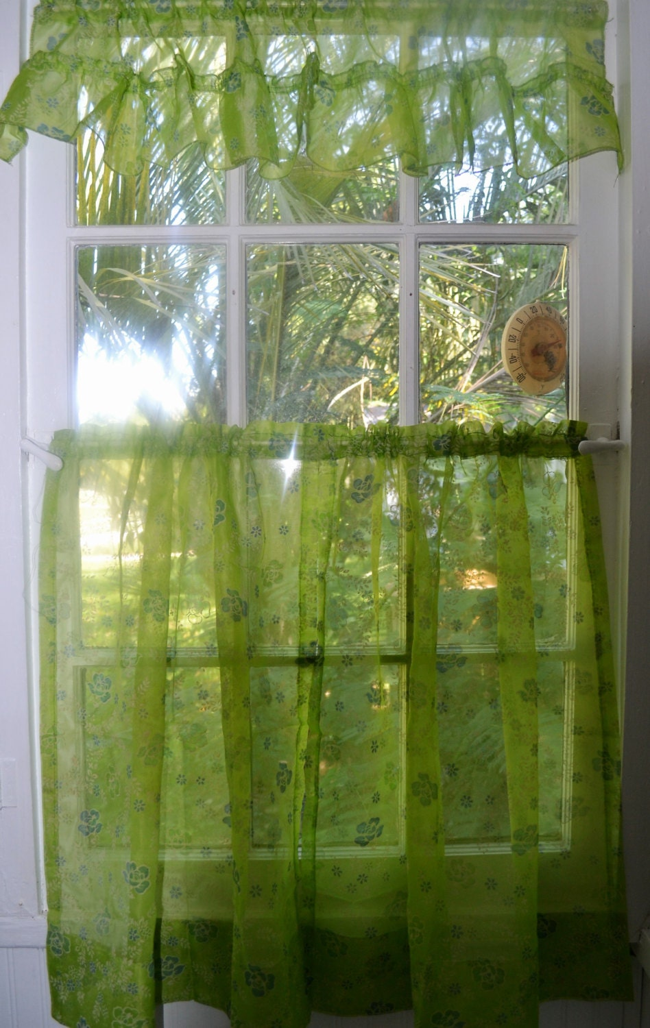1960 39 S Kitchen Curtain With Valance Lime Green