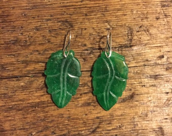 Jade earrings and silver