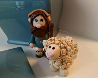 Polymer Clay David the Shepherd and his Sheep Figurine Set