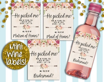 Mini Wine Labels, Bridal Proposal Wine Lables, INSTANT DOWNLOAD, Printable Wine Labels, Small Wine Labels, Mini Champagne Labels