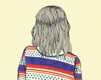 Hair Study - Original Drawing