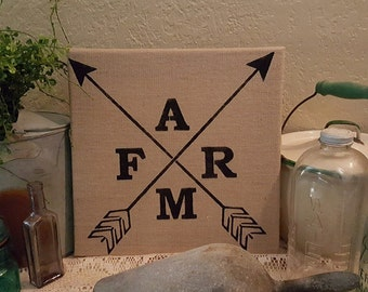 Farm Burlap sign