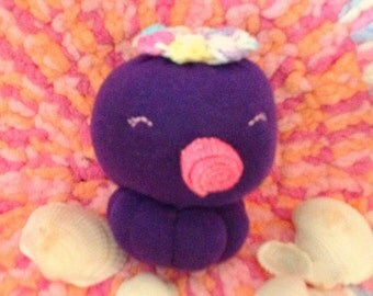 Purple octopus sock doll, sock doll