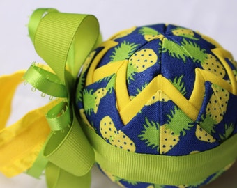 Pineapple Fabric Quilted Ornament
