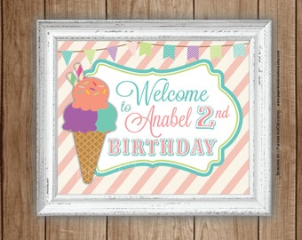 Ice cream party - Welcome Sign - Personalized - Printable