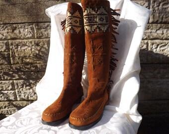 Warren Edwards Native American Mocasin Boots Size UK 7, US 9