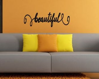 Beautiful or Pretty wall decal Free Shipping!